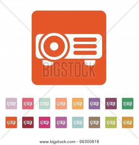The projector icon. Presentation symbol. Flat