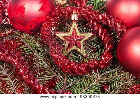 Red Star, Decoration On Christmas Tree Background