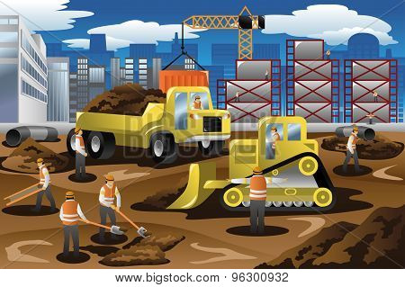Workers In A Construction Site