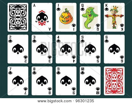 Halloween Playing Cards - Spades Set