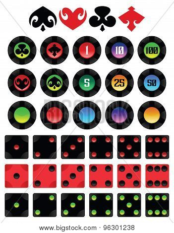 Poker Chips And Dices Set