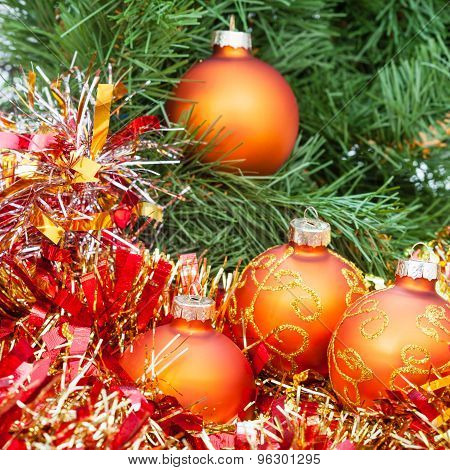 Orange Christmas Balls, Red Tinsel On Xmas Tree 2
