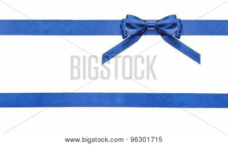 Blue Satin Bows And Ribbons Isolated - Set 18
