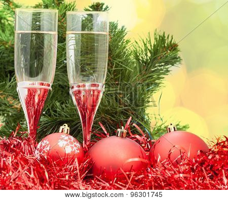 Two Glasses With Red Xmas Decorations And Tree 5