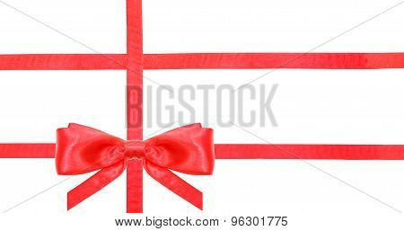 Red Satin Bow Knot And Ribbons On White - Set 25