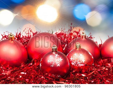 Xmas Red Balls On Blurred Diffuse Blue Background