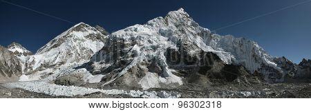 Mount Everest (8,848 m) and the Khumbu Glacier from the Everest Base Camp (5,364 m) in Khumbu region, Himalayas, Nepal.