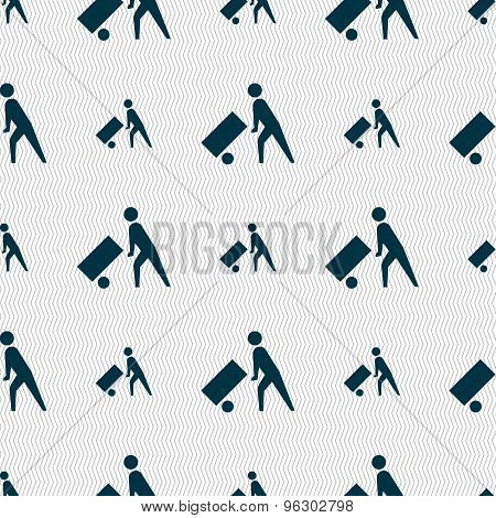 Loader Icon Sign. Seamless Pattern With Geometric Texture. Vector