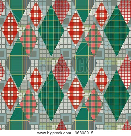 Patchwork Seamless Pattern Checkered Ornament Retro Background