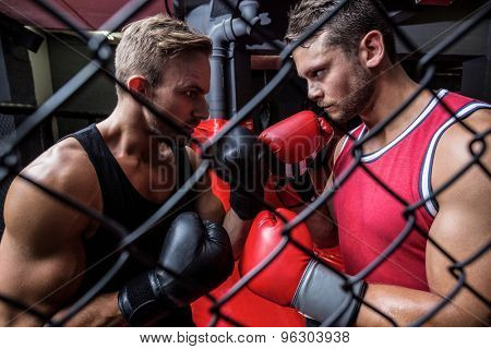 Side view of two determined boxing men behind the netting