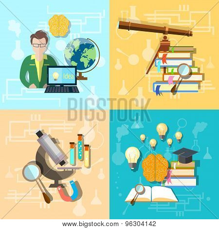 Science And Education: Students, College, University, Astronomy, Chemistry,vector illustration