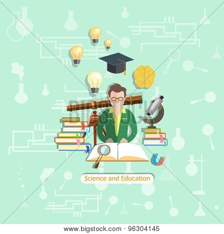 Education And Science: Students, Lessons, University, College, Science, vector illustration