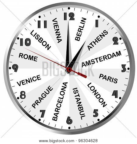 Clock With Cities From Europe