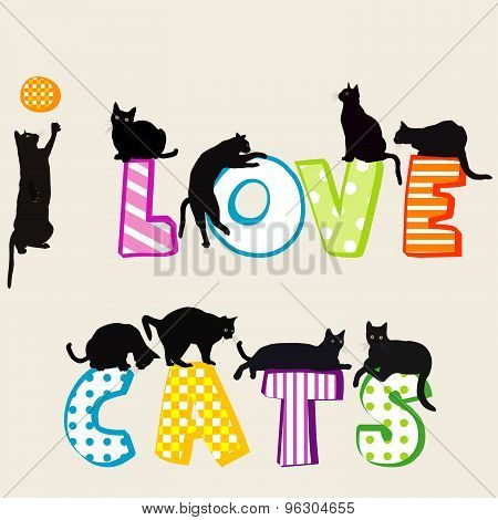 I Love Card Card With Cats Silhouettes