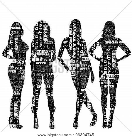 Women Silhouettes Patterned  With Sale Messages