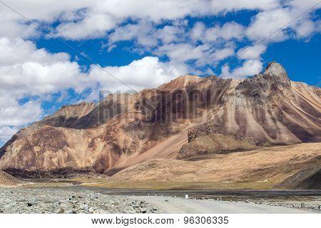 Himalayan Landscape In Himalayas Along Manali-leh Highway. Himachal Pradesh, India