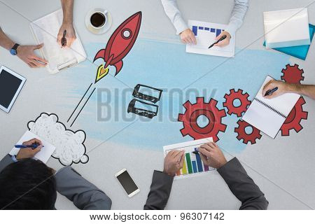 Business meeting against cog and wheel rocket graphic