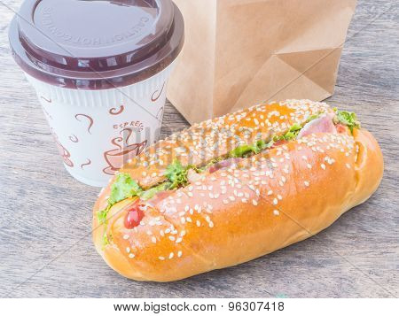 Take Away Coffee Cup And Hot Dog