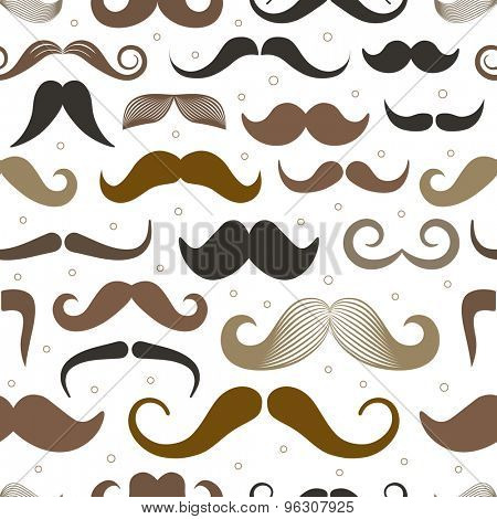 Different retro style moustache seamless pattern. Bright version