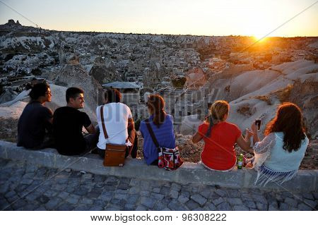 Tourists Watch Sunset Over Cappadocia