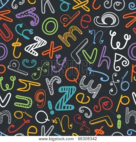 Abstract hand-drawn color doodle alphabet seamless background. Vector design elements