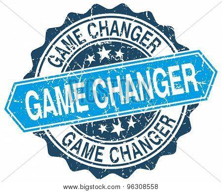 Game Changer Blue Round Grunge Stamp On White
