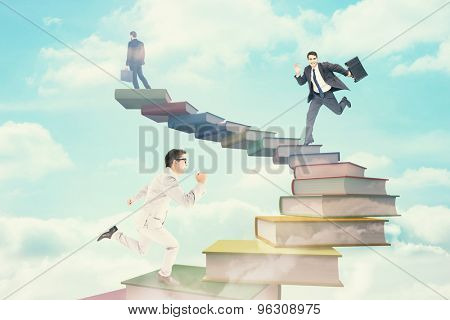 Cheerful businessman in a hurry against cloudy sky