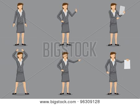 Woman Business Executive Vector Character Set
