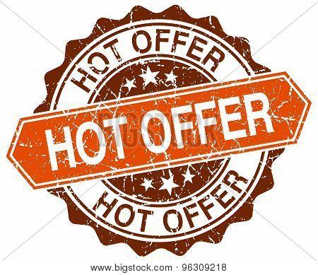 Hot Offer Orange Round Grunge Stamp On White