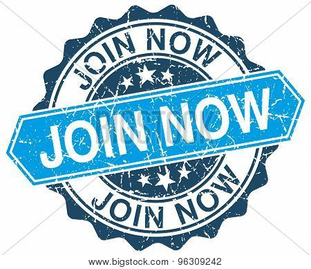 Join Now Blue Round Grunge Stamp On White