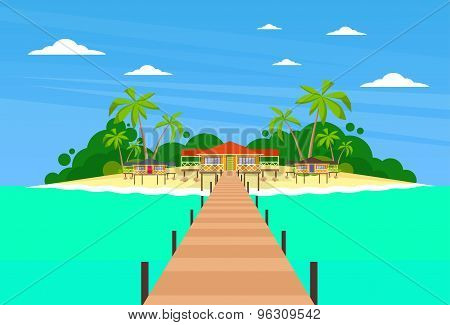 Tropical Island Long Pier Summer Vacation Paradise Ocean