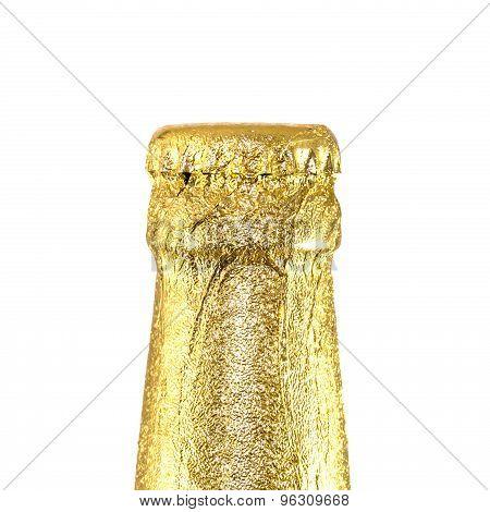 Neck Closed Beer Bottles Wrapped In Gold Foil