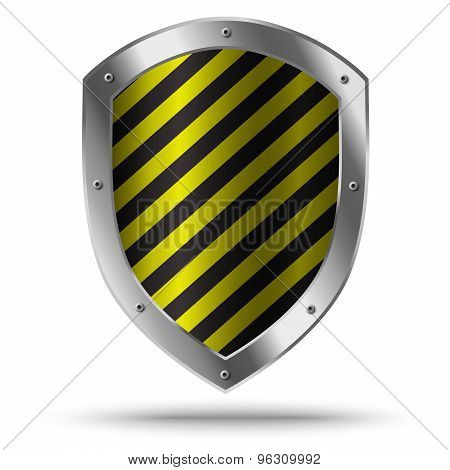Classic Metal Shield With Yellow Pattern. Hazard Symbol.