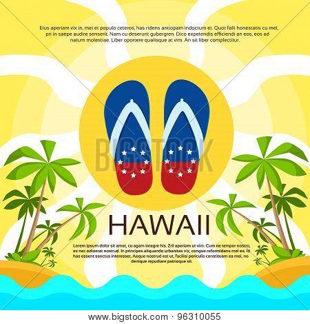 Summer Beach Flip-flops Sand Hawaii Flag Color Card Tropical