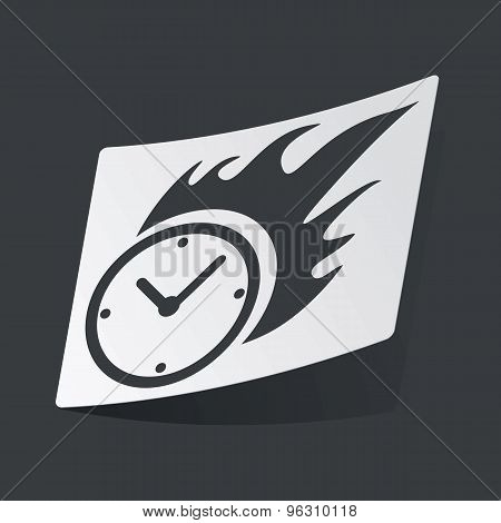 Monochrome burning clock sticker