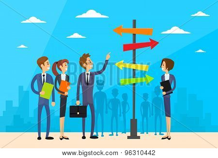 Businesspeople Standing Sign Choose Direction Way Signboard