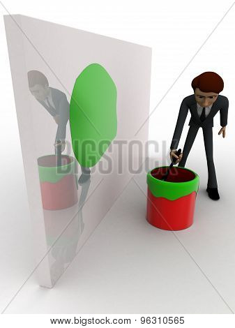 3D Man Painting Green On Wall Using Brush And Paint Bucket Concept