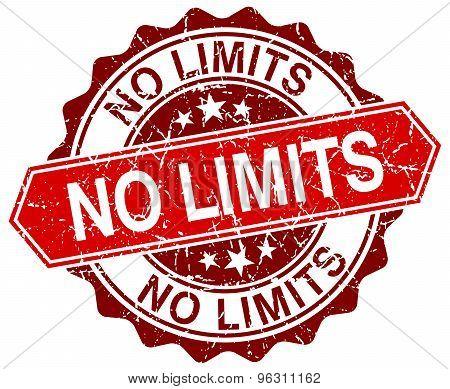 No Limits Red Round Grunge Stamp On White