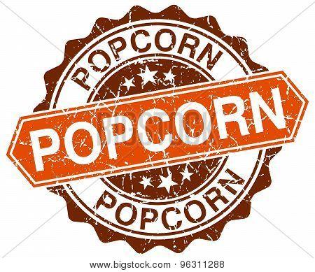 Popcorn Orange Round Grunge Stamp On White