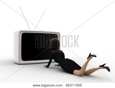 3D Woman Lying On Floor And Watching Tv Concept