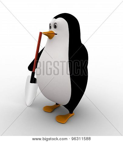 3D Penguin With Construction Digging Tool Concept