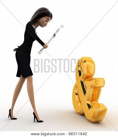 3D Woman Examine Percentage Symbol Concept