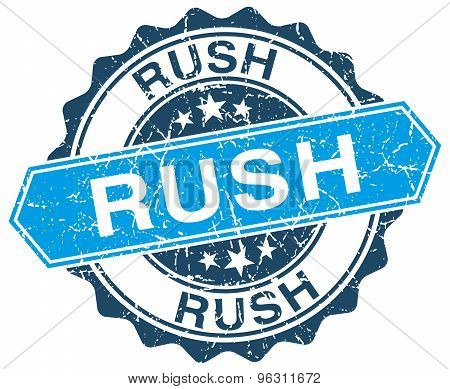 Rush Blue Round Grunge Stamp On White