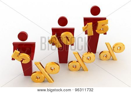 3D Man With 5, 10 And 15 Percentage Discount Concept
