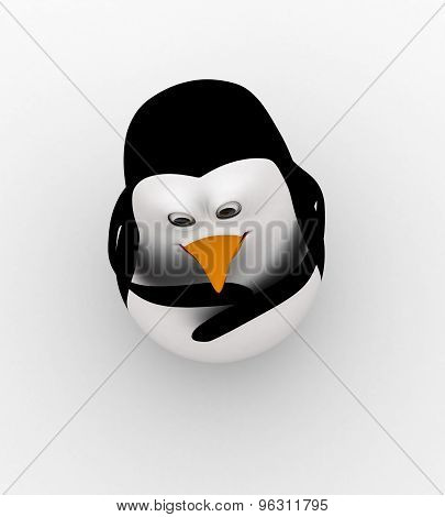 3D Penguin Thinking Deeply Concept