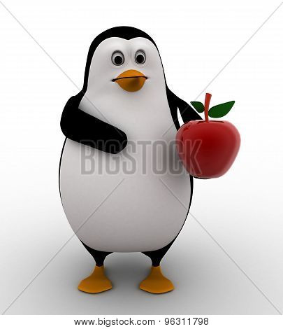 3D Penguin With Red Apple In Hand Concept