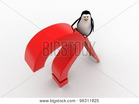 3D Penguin Climb Red Question Mark With Ladder Concept