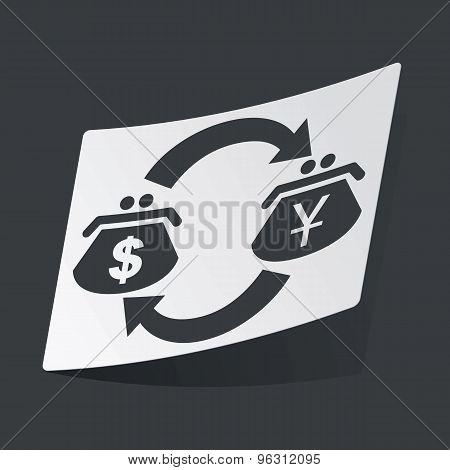 Monochrome dollar yen exchange sticker