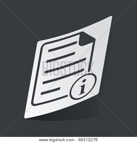 Monochrome information document sticker