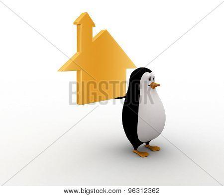 3D Penguin Holding Golden House In Hand Concept